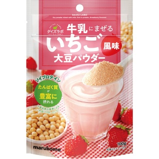 Marukome Soybean Laboratories Strawberry Flavored Powder To Mix with Milk