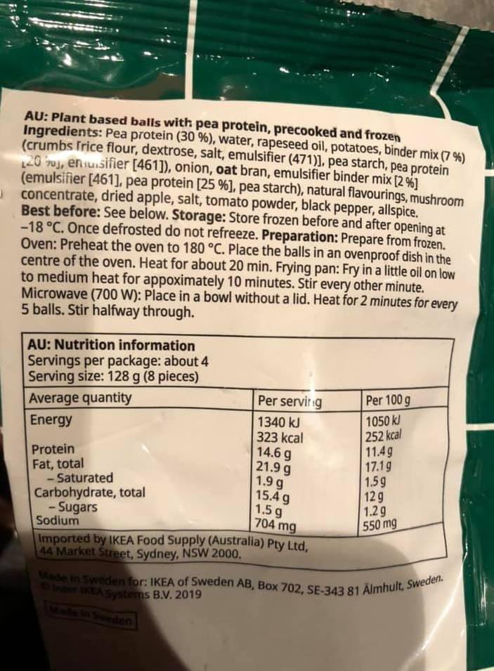 Ikea Huvudroll Plant balls ingredient list