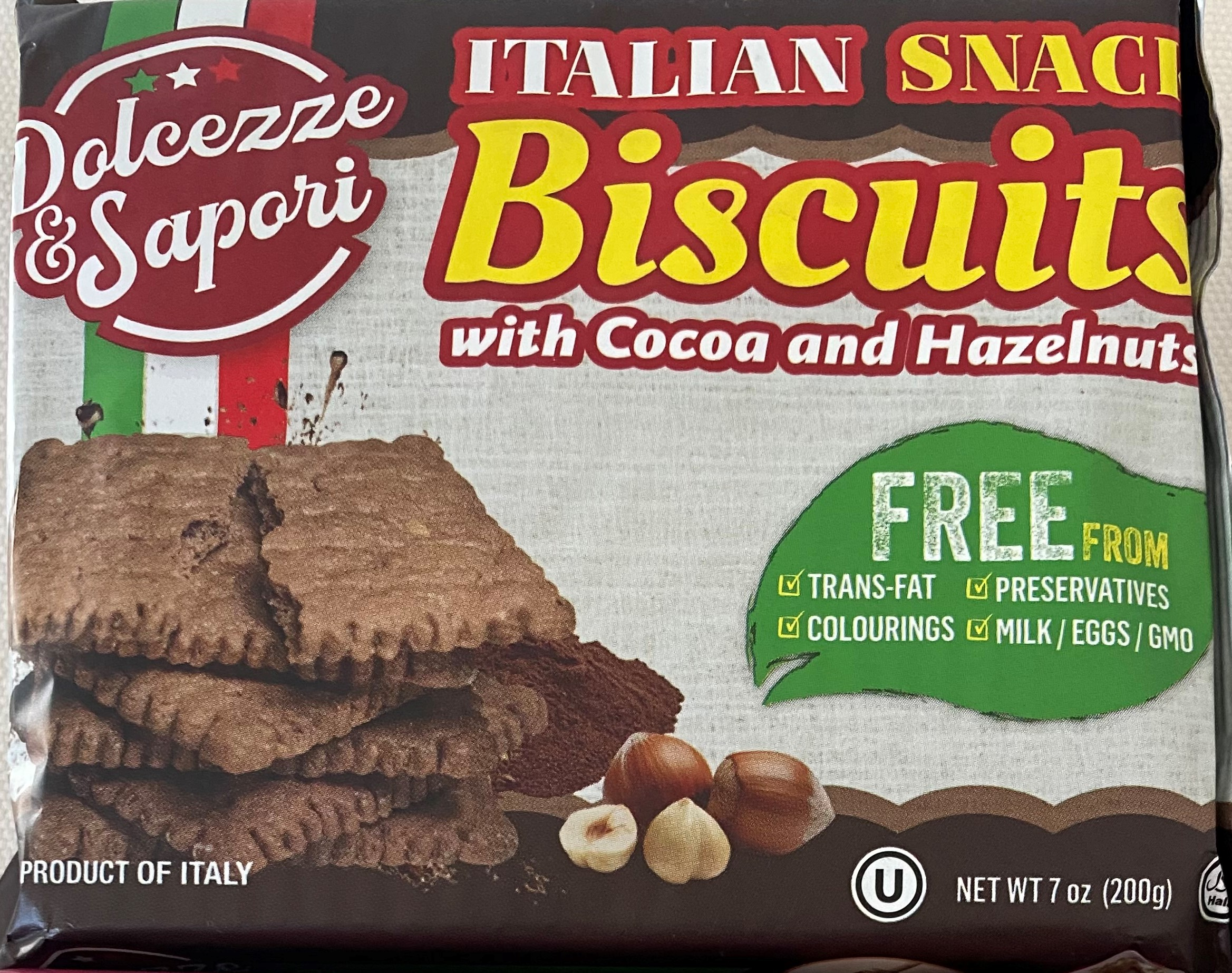 Dolcezze & Sapori Italian Snack Biscuits with Cocoa and Hazelnuts