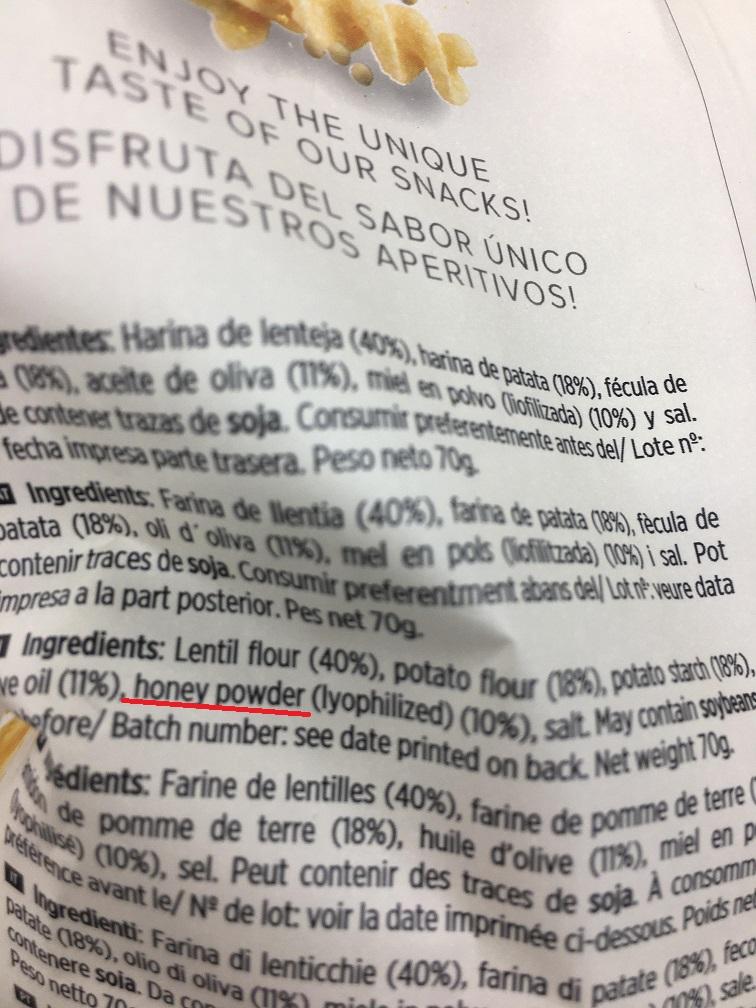 Torres Unique Snacks Lentil Twists with Honey ingredient list