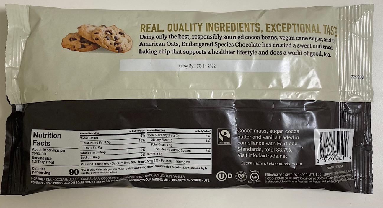 Endangered Species Premium Baking Chips Oat Milk & Dark Chocolate back of package