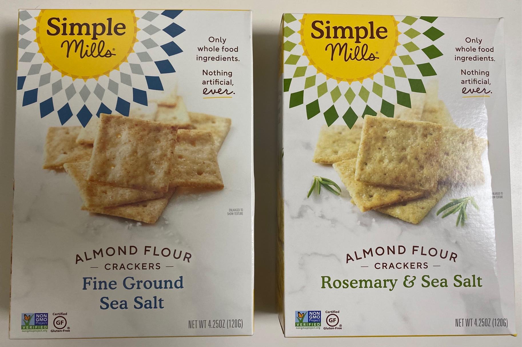 Simple Mills Almond Flour Crackers Fine Ground Sea Salt & Rosemary & Sea Salt