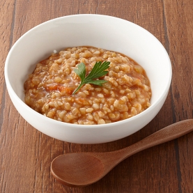 Sea and Earth Deli Tomato Genmai Porridge stock photo